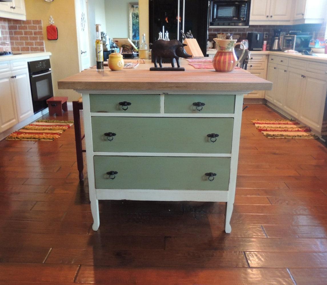 Repurposed Antique Dresser As A Kitchen Island With A: 1920's Repurposed Vintage Kitchen Island