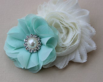 Ivory and mint flower girl hair clip ivory and mint hair clip mint and ivory bows mint toddler hair bow ivory flower girl hair bow