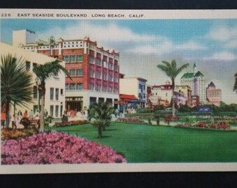 1930s Seaside Boulevard, Long Beach, California, Postcard - Vintage California