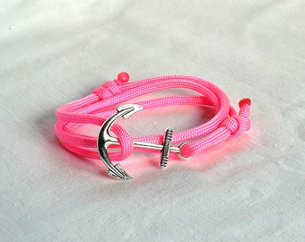 Pink Paracord Bracelet Anchor Bracelet Rope anchor bracelet Nautical Bracelet Anchor Jewelry Nautical Jewelry Anchor charm  Gift for her