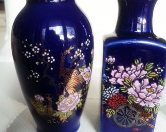 Vintage , vintage  vase, blue vases,  set of 2 small Vases
