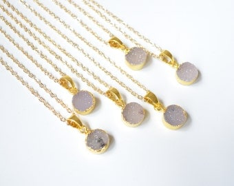 Nature 10 MM round Agate Druzy slice pendant Necklace, Gold Plated nature Drusy crystal Geode Necklace ,wedding party birthday jewelry