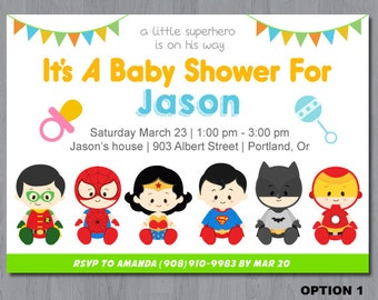 Superhero Baby Shower Invitation, super hero baby shower invitation, super baby invite, superhero baby shower, baby superheroes