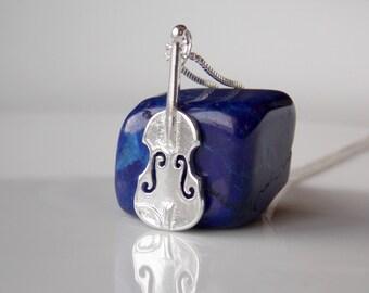 Violin Jewelry, Violin Charm, Violin Gifts, Violin Necklace, Violin Pendant, Sterling Silver Violin, Music Instrument Violino, Stampsink