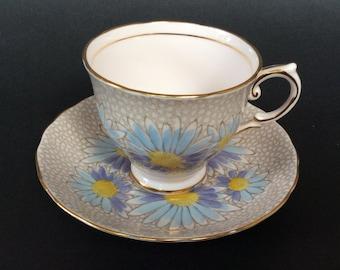 Vintage Tea Cup wth Saucer/ Tuscan Fine English Bone China/ Large Purple -Blue Daisies Design/ Pattern 7592H