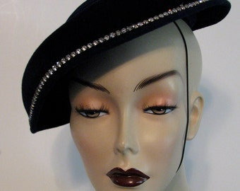 Vintage Hat Blue Velvet Tilt Rhinestones Evelyn Varon Model