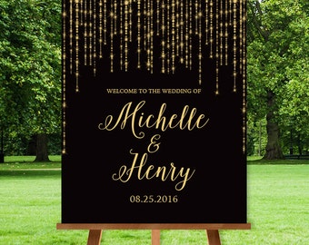 Elegant Wedding Welcome Sign / Great Gatsby Inspired Bokeh String Light Sparkle / Black and Gold ▷ Printed Paper, Canvas {or} Printable
