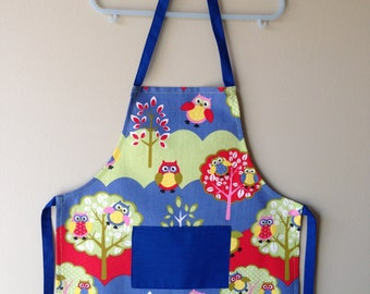 Child Apron, Kids Apron, Owl Apron, Toddler Apron, Jungle Animals Apron, Kitchen Apron, Art Apron, Craft Apron, Animal Apron, Play Apron