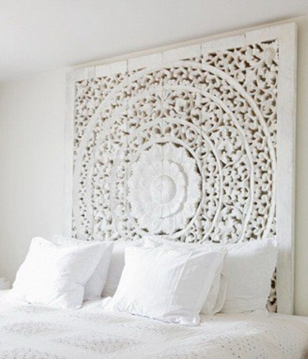 carved teak wall hanging bed headboard unique white washed. Black Bedroom Furniture Sets. Home Design Ideas