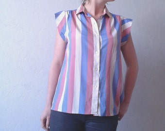 Striped silken blouse