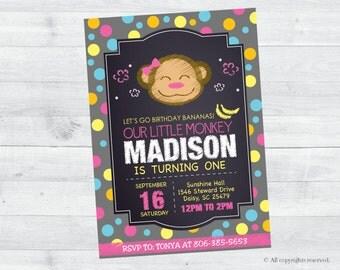 Jungle Monkey Birthday Invitation (pink and grey)