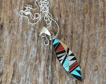 Native American Jewelry,Turquoise,Zuni,Sterling,zuni pendant,Zuni Jewelry,native,Native American,Zuni Pueblo Sterling Silver & Inlay Pendant