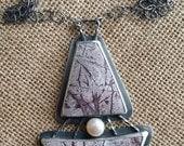 Sonora Dendritic Jasper, Freshwater Pearl, sterling silver, patina oxidized, pendant