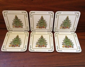 Vintage Pimpernel Christmas Tree Coasters  ~ Boxed Set of 6