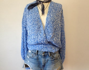Vintage Blue White Marl Crochet Sweater Puff Sleeves Mesh Made in Ireland