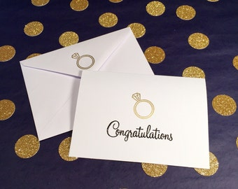 Engagement Congratulations Card - Gold, Black and White - Matching Engagement Ring Envelope