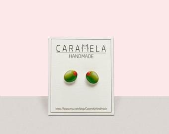 Green Olive Earrings Green Olive Stud Earrings Olive Stud Earring Post Earring Gift Idea