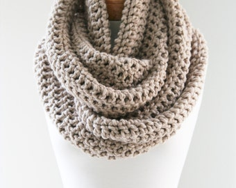 Oversized Knit Infinity, Chunky Infinity Scarf, Large Crochet Scarf, Beige Scarf, Wool Scarf