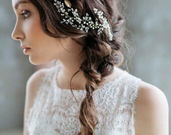 Bridal Headpiece, Bridal Hair Vine , Bridal Pearl Headpiece, Wedding Wreath, Wedding Headpiece, Gold Leaves, Wedding Hair Accessories