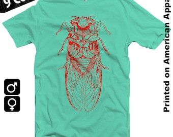 Cicada (red) American Apparel T-shirt S-XXL Men/Women Vintage Entomology Engraving, Insect, Enlightenment, Science, Cool Gift