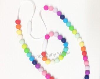 Sensory Necklace & Bracelet Set - Rainbow - Chew Beads - Fidget Toy - BPA Free Silicone - Toddler - Kids - Play Jewelry - Dress Up