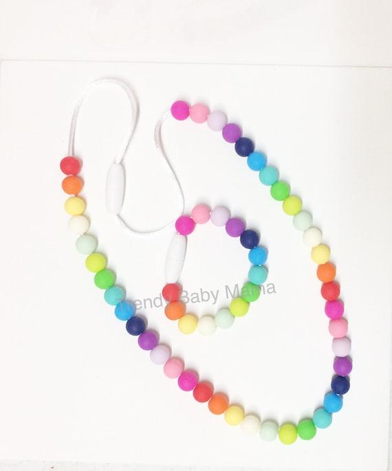 sensory necklace bracelet set rainbow chew