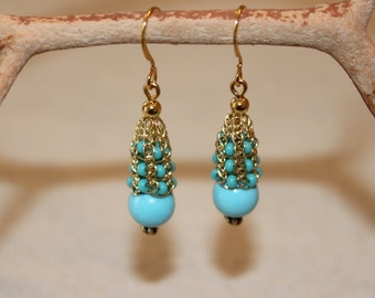 Turquoise Woven Lace Drop Earring