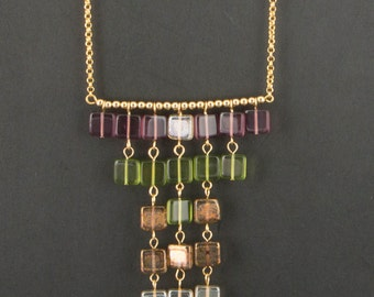 """Necklace with square beads.Necklace with green,purple,champagne,brown beads.Golden chain with transparent beads.""""Bead Curtain"""""""