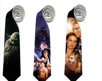 necktie han solo yoda princess leia star wars geek fan harrison jedi cosplay tie