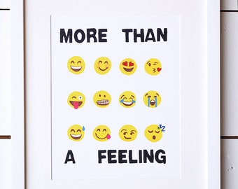 "8"" x 10"" Funny Art Print~ ""The emojis"" funny, wallart, wall decor, home decor, birthday gift, watercolor art print, funny artwork, art"