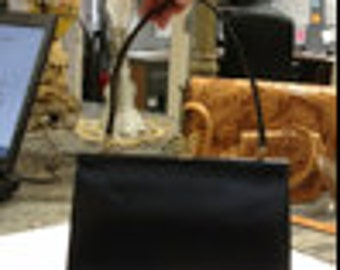 """Vintage Hahne and Co Black Leather Purse Made in England 9"""" x 6.5"""", 7"""""""