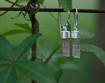 Raw Pink Tourmaline Earrings in Brushed Sterling Silver I
