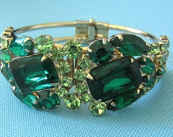 Emerald Green and Light Green Rhinestone Hinged Cuff Bracelet