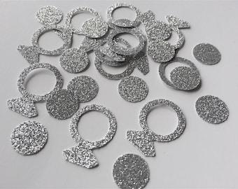 Engagement Confetti. Ring Confetti.Diamond ring.Weddings, parties, bridal shower, bachelorette party. Silver Glitter. Gold Glitter confetti.
