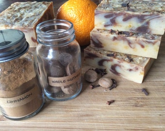 HOLIDAY SPICE SOAP.....Cinnamon, Clove, and Orange, hand soap, holiday scent, with sweet almond oil