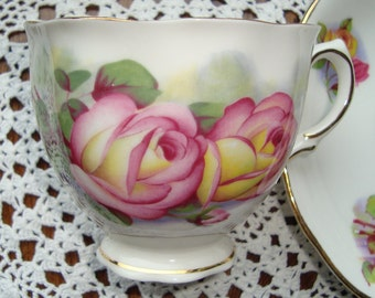Colclough Bone - China Made in England - Vintage Tea Cup and Saucer - Yellow and Pink Roses with Gold Trim