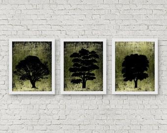 Set Of 3 Art Prints - Tree Silhouette Wall Art - Distressed Art Posters - Office Wall Art Set - Green & Black Wall Decor - Tree Art Set