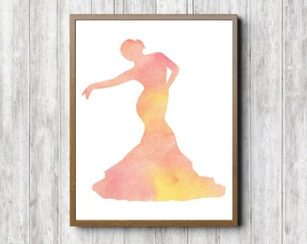 Instant Download - Spanish Dancer Silhouette Wall Art - Watercolor Flamenco Dancer Poster - Dance Gift - Girls Room Art Print - 8 x 10