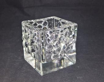 Swedish glass square candle holder tea light vintage glass decorative glass christmas light home decor swedish house