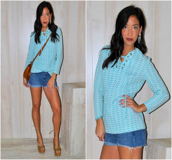 Blue Tie-Up Blouse Long Sleeve Bow-Tie Top Modern Lace up Shirt Chevron Pattern Vintage 70's Patterned Blouse V-neck Top Small Medium Boho