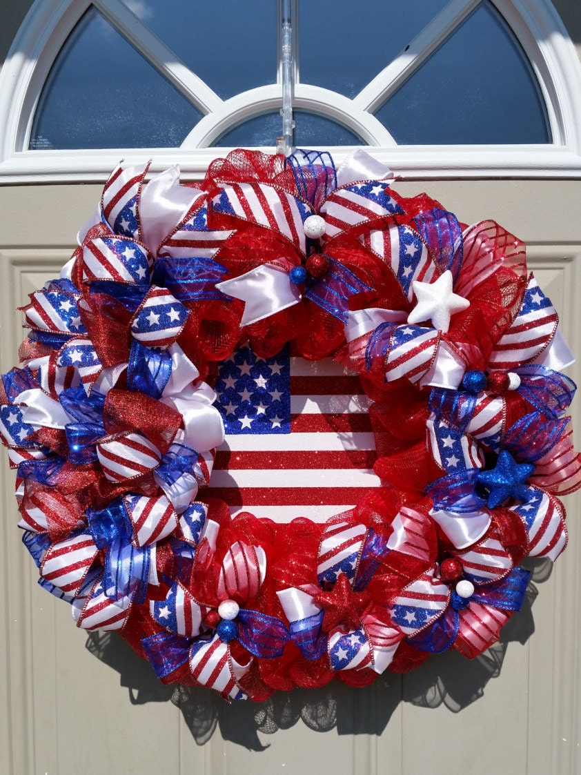 NEW ... God Bless The USA Sparkling Patriotic Wreath is Beautiful ...