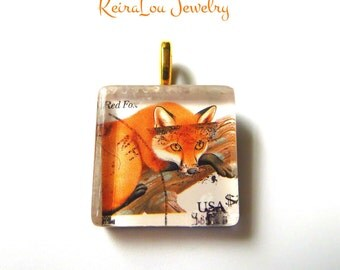 Red Fox Stamp Pendant, Fox Necklace, Glass Tile Pendant, Glass Tile Necklace, Glass Tile Jewelry, Stamp Pendant, Stamp Jewelry, Stamp Art