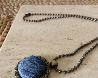 Upcycled/recycled Blue Jean fabric button pendant with copper ball chain necklace. Handmade. Cute as a button.