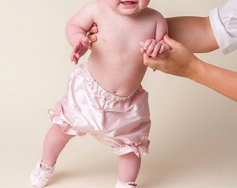 Baby Bloomers, Pink Silk Bloomers