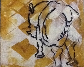 Harlequin Rhino. Yellow and white rhinoceros Original Encaustic Painting. Small Painting. Endangered species Wall art