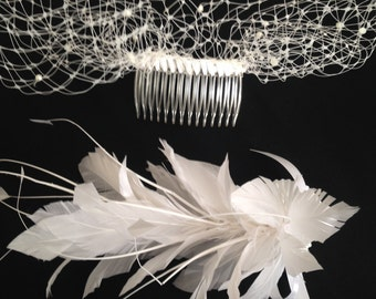 Feather Novelty Comb and Birdcage Veil