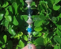 Angel Wine Cork Ornament Blue Beaded Bottle Charm Crystal Hostess Gift Party Favor CoWorker Sympathy Remembrance RearView Mirror Sun Catcher