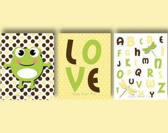 Frog nursery printable, yellow-green-brown crib bedding,polka dots,alphabet downloadable prints,instant download,love digital file,firefly