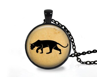 Wild Animal jewelry Panther head pendant Big cat necklace