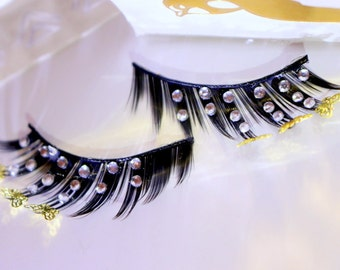 Gold and Silver Butterfly Dramatic False Eyelashes with Diamante's
